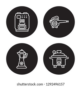 4 linear vector icon set : ice cream maker, percolator, leaf blower, pressure cooker isolated on black background, ice cream maker, percolator, leaf blower, pressure cooker outline icons