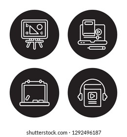 4 linear vector icon set : Board, Blackboard, blended learning, Audiobook isolated on black background, Board, Blackboard, blended learning, Audiobook outline icons