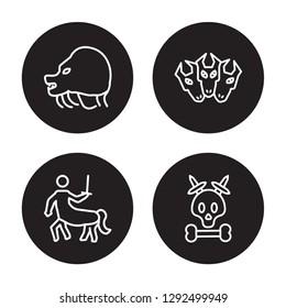 4 linear vector icon set : Chimera, Centaur, Cerberus, Caribbean isolated on black background, Chimera, Centaur, Cerberus, Caribbean outline icons