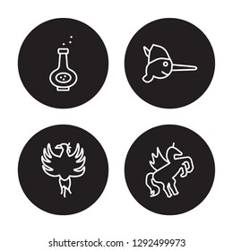 4 linear vector icon set : Potion, Phoenix, Pinocchio, Pegasus isolated on black background, Potion, Phoenix, Pinocchio, Pegasus outline icons