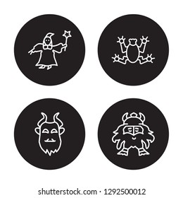 4 linear vector icon set : fairy godmother, beast, toad, Dwarf isolated on black background, fairy godmother, beast, toad, Dwarf outline icons