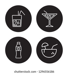 4 linear vector icon set : Cuba libre, coke, Cosmopolitan, Coconut drink isolated on black background, Cuba libre, coke, Cosmopolitan, Coconut drink outline icons