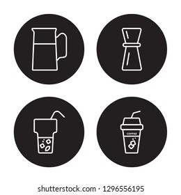 4 linear vector icon set : Jug, Ice Tea, Jigger, Ice coffee isolated on black background, Jug, Ice Tea, Jigger, Ice coffee outline icons
