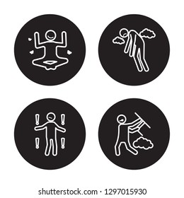 4 linear vector icon set : motivated human, meh human, miserable human, mad human isolated on black background,