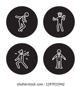4 linear vector icon set : funny human, frustrated human, full human, fresh human isolated on black background,