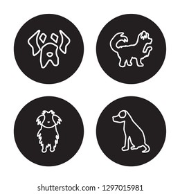 4 linear vector icon set : Mexican Hairless Dog , Maltipoo dog, Mastiff dog, Maltese dog isolated on black background,