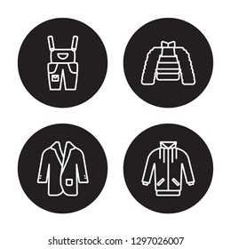 4 linear vector icon set : Dungarees, suit jacket, puffer, jogging jacket isolated on black background, Dungarees, puffer, jogging outline icons