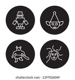 4 linear vector icon set : Golem, Giant, Goblin, female Medusa isolated on black background, Golem, Giant, Goblin, female Medusa outline icons