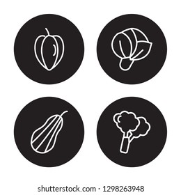 4 linear vector icon set : Carambola, Butternut squash, Cabbage, Broccoli isolated on black background, Carambola, Butternut squash, Cabbage, Broccoli outline icons