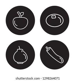 4 linear vector icon set : Yuzu, quince, mandarin, Zucchini isolated on black background, Yuzu, quince, mandarin, Zucchini outline icons