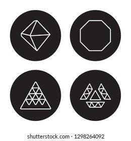 4 linear vector icon set : Octahedron, Multiple triangles triangle, Octagon isolated on black background, Octahedron, Multiple triangles triangle, Octagon outline icons