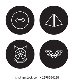 4 linear vector icon set : Radius, Polygonal wolf head, Prism, Polygonal wings isolated on black background, Radius, Polygonal wolf head, Prism, Polygonal wings outline icons