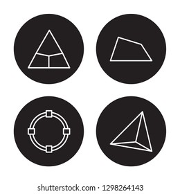 4 linear vector icon set : Triangle, Transform, Trapezium, Tetrahedron isolated on black background, Triangle, Transform, Trapezium, Tetrahedron outline icons