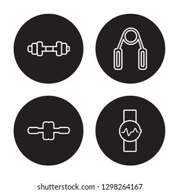 4 linear vector icon set : Gym, fitness Wheel, Grip, fitness Watch isolated on black background, Gym, fitness Wheel, Grip, fitness Watch outline icons