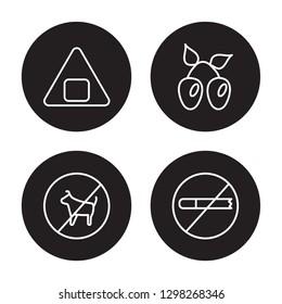 4 linear vector icon set : Onigiri, No smoking, Olives, No pets isolated on black background, Onigiri, No smoking, Olives, No pets outline icons