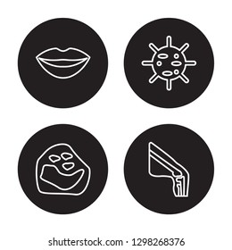4 linear vector icon set : Big Lips, Basophil, Big Cellule, Ball of the knee isolated on black background, Big Lips, Basophil, Big Cellule, Ball of the knee outline icons