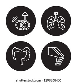 4 linear vector icon set : Male and female gender, Large Intestine, Lungs with the trachea isolated on black background, Male and female gender, Large Intestine, Lungs with the trachea outline icons