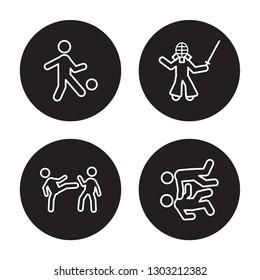 4 linear vector icon set : kickball, Karate, kendo, judo isolated on black background,