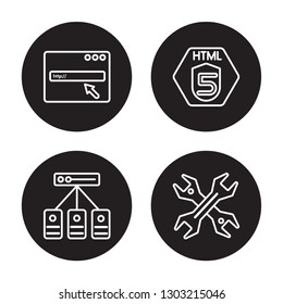 4 linear vector icon set : Http, Hosting, Html5, Hardware isolated on black background