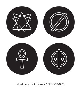 4 linear vector icon set : Bahai, Ankh, atheism, animism isolated on black background,