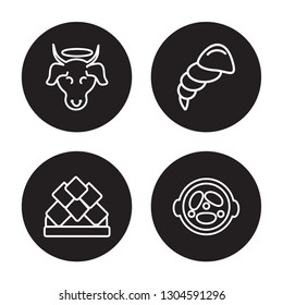 4 linear vector icon set : Sac cow, Lotus temple, Conch shell, Malai kofta isolated on black background, Sac cow, Lotus temple, Conch shell, Malai kofta outline icons