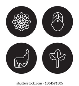4 linear vector icon set : Mandala, Dipa, Bindi, Bael tree isolated on black background, Mandala, Dipa, Bindi, Bael tree outline icons