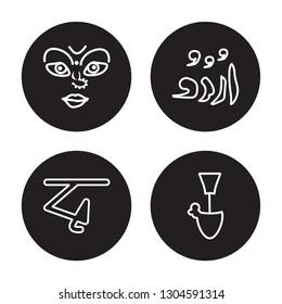 4 linear vector icon set : navratri, bengali language, urdu, yakshagana isolated on black background, navratri, bengali language, urdu, yakshagana outline icons