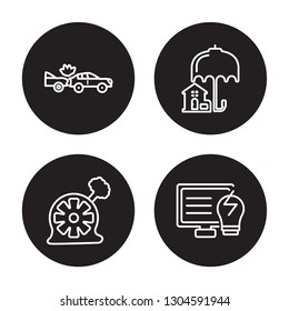 4 linear vector icon set : Rear end collision, Puncture in a wheel, Real estate insurance isolated on black background, Rear end collision, Puncture in a wheel, Real estate insurance outline icons