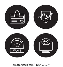 4 linear vector icon set : Cit card security, wlan, Connection error, Computing cloud isolated on black background, Cit card security, wlan, Connection error, Computing cloud outline icons