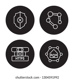 4 linear vector icon set : Insecure, Https, Hub, Home network isolated on black background, Insecure, Https, Hub, Home network outline icons