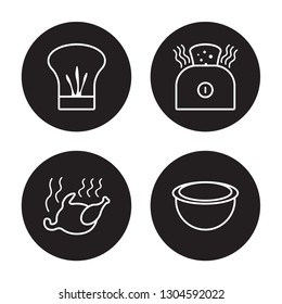 4 linear vector icon set : Chef hat, broiler, bun warmer, Bowl isolated on black background, Chef hat, broiler, bun warmer, Bowl outline icons
