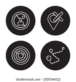 4 linear vector icon set : No stopping, Navigation trajectory, Nearby, National Park Pin isolated on black background, No stopping, Navigation trajectory, Nearby, National Park Pin outline icons