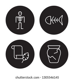 4 linear vector icon set : Skeleton, Papyrus, Fishbone, Ancient jar isolated on black background, Skeleton, Papyrus, Fishbone, Ancient jar outline icons