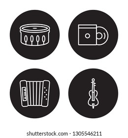 4 linear vector icon set : Cymbals, Violoncello, Accordion, Bongo isolated on black background, Cymbals, Violoncello, Accordion, Bongo outline icons