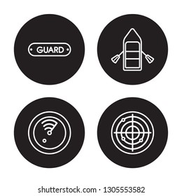 4 linear vector icon set : Rescue Tube, Radar detection, Raft, Radar isolated on black background, Rescue Tube, Radar detection, Raft, Radar outline icons