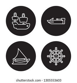 4 linear vector icon set : caravel, felucca, motorboat, marine isolated on black background, caravel, felucca, motorboat, marine outline icons