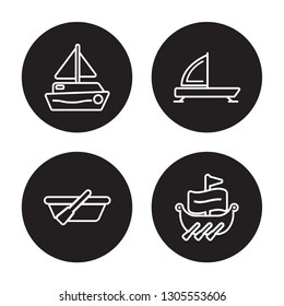 4 linear vector icon set : scow, skiff, iceboat, trireme isolated on black background, scow, skiff, iceboat, trireme outline icons