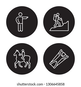 4 linear vector icon set : Man pointing, Man Horseriding, Man in Hike, Man Flying isolated on black background,outline icons