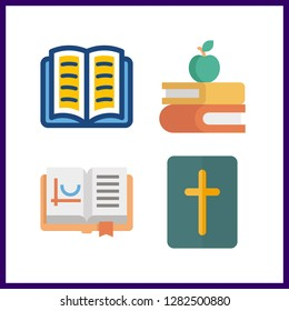4 literature icon. Vector illustration literature set. open book and bible icons for literature works