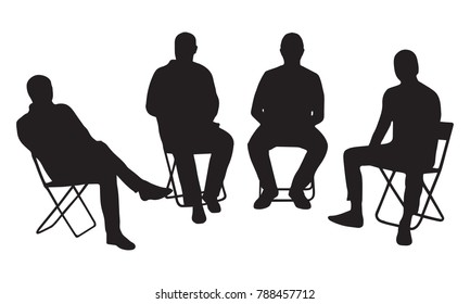 4 male silhouettes are sitting on chairs