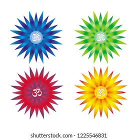 4 mandalas with the Aum / Om / Ohm sign in the center. Collection: Blue, Red, Yellow orange and green. Vector graphics.