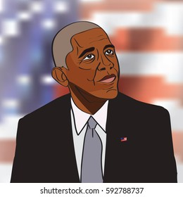 4 March, 2017: 44th US President Barack Obama drawing vector portrait on the US flag background.