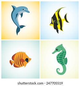 4 marine life on a colorful background