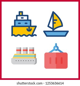 4 maritime icon. Vector illustration maritime set. ship and container icons for maritime works