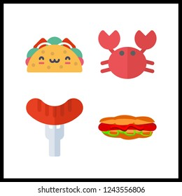 4 meat icon. Vector illustration meat set. crab and hot dog icons for meat works