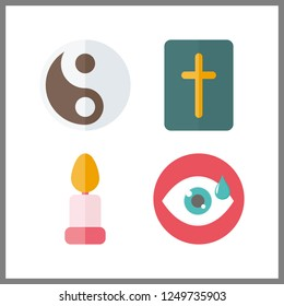 4 meditation icon. Vector illustration meditation set. yin yang and bible icons for meditation works