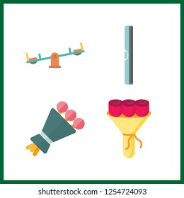 4 minimal icon. Vector illustration minimal set. bouquet and ruller icons for minimal works