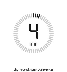 The 4 minutes, stopwatch vector icon, digital timer. clock and watch, timer, countdown symbol.