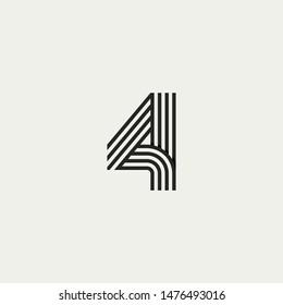 4 monogram. Abstract letter 4 logo design. Line creative symbol. Logo branding. Universal vector icon - Vector