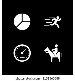 4 movement icons in vector set. equal, man riding a horse, speed and runer silhouette running fast illustration for web and graphic design